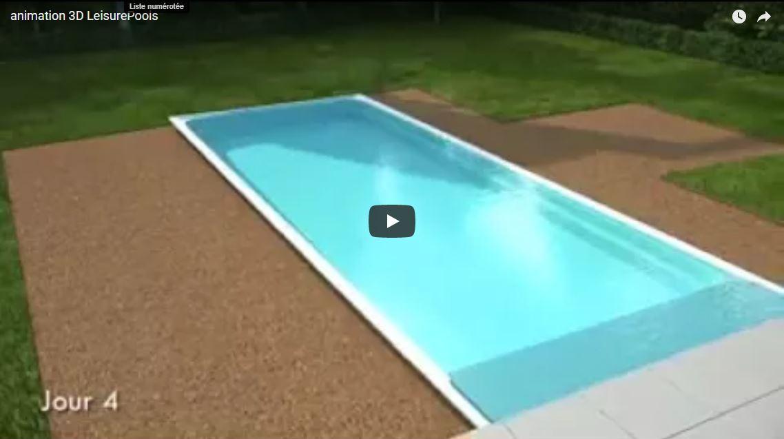 Animation placement piscine en 4 jours en 3D